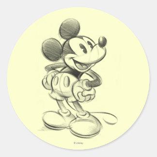 Classic Mickey   Sketch Classic Round Sticker