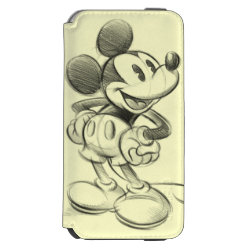 Incipio Watson™ iPhone 6 Wallet Case with Sketched Mickey Mouse Drawing design