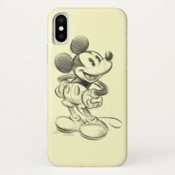 Case-Mate Barely There iPhone X Case with Sketched Mickey Mouse Drawing design