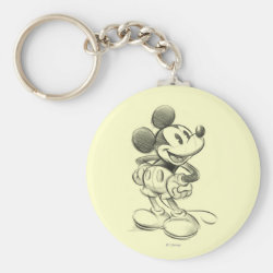 Basic Button Keychain with Sketched Mickey Mouse Drawing design