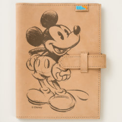 Leather Journal with Sketched Mickey Mouse Drawing design