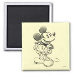 Square Magnet with Sketched Mickey Mouse Drawing design