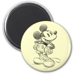 Round Magnet with Sketched Mickey Mouse Drawing design