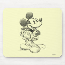 Mousepad with Sketched Mickey Mouse Drawing design