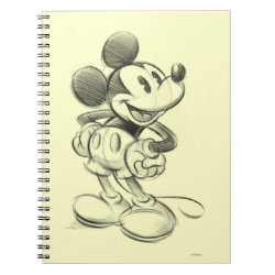 Photo Notebook (6.5' x 8.75', 80 Pages B&W) with Sketched Mickey Mouse Drawing design