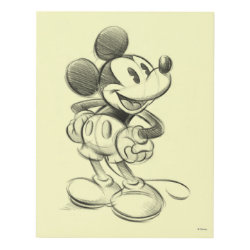 Matte Wall Panel with Sketched Mickey Mouse Drawing design