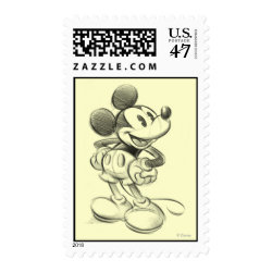 Medium Stamp 2.1' x 1.3' with Sketched Mickey Mouse Drawing design