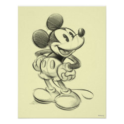 Matte Poster with Sketched Mickey Mouse Drawing design