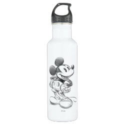Water Bottle (24 oz) with Sketched Mickey Mouse Drawing design