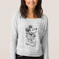Women's Bella+Canvas Flowy Off Shoulder Shirt with Sketched Mickey Mouse Drawing design