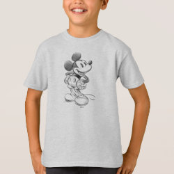 Kids' Hanes TAGLESS® T-Shirt with Sketched Mickey Mouse Drawing design