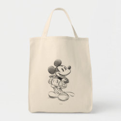 Grocery Tote with Sketched Mickey Mouse Drawing design