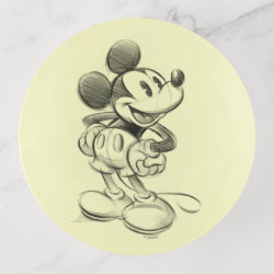 Glass Tray with Sketched Mickey Mouse Drawing design