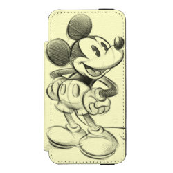 Incipio Watson™ iPhone 5/5s Wallet Case with Sketched Mickey Mouse Drawing design