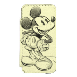 Classic Mickey | Sketch Wallet Case For iPhone SE/5/5s