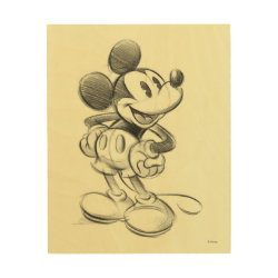 8'x10' Wood Canvas with Sketched Mickey Mouse Drawing design