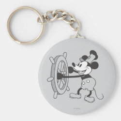 Basic Button Keychain with Steamboat Willie Mickey Mouse design