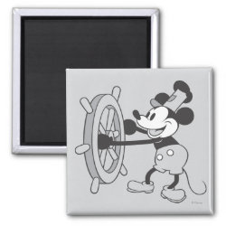 Steamboat Willie Mickey Mouse Square Magnet