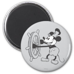 Steamboat Willie Mickey Mouse Round Magnet