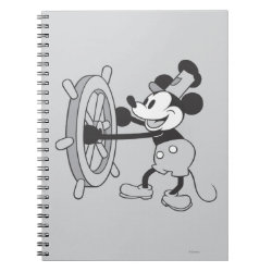Photo Notebook (6.5' x 8.75', 80 Pages B&W) with Steamboat Willie Mickey Mouse design