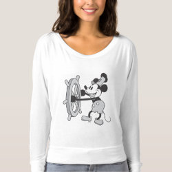 Steamboat Willie Mickey Mouse Women's Bella+Canvas Flowy Off Shoulder Shirt