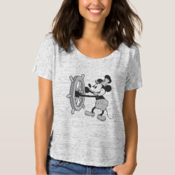 Women's Bella+Canvas Slouchy Boyfriend T-Shirt with Steamboat Willie Mickey Mouse design