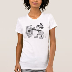 Women's American Apparel Fine Jersey Short Sleeve T-Shirt with Steamboat Willie Mickey Mouse design