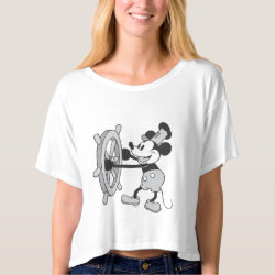 Women's Bella+Canvas Boxy Crop Top T-Shirt with Steamboat Willie Mickey Mouse design