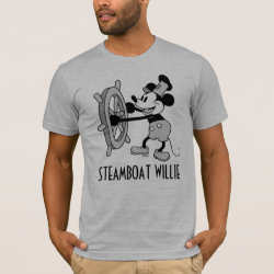 Steamboat Willie Mickey Mouse Men's Basic American Apparel T-Shirt