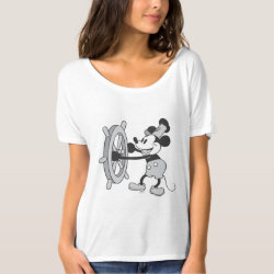 Steamboat Willie Mickey Mouse Women's Bella+Canvas Slouchy Boyfriend T-Shirt