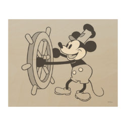 Wood Print with Steamboat Willie Mickey Mouse design