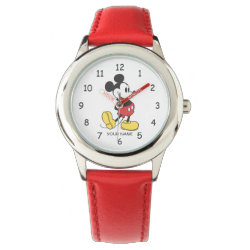 Kid's Stainless Steel Red Leather Strap Watch with Classic Mickey Mouse design