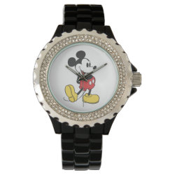 Women's Rhinestone Black Enamel Watch with Classic Mickey Mouse design