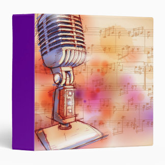 Classic Microphone, watercolor background Binder