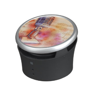 Classic Microphone, watercolor background Bluetooth Speaker