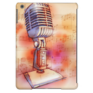 Classic Microphone, watercolor background iPad Air Cover