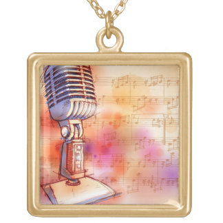 Classic Microphone, watercolor background Gold Plated Necklace