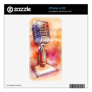 Classic Microphone, watercolor background iPhone 4 Decal