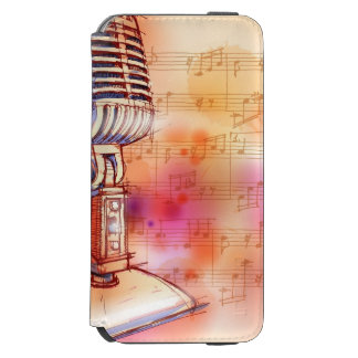 Classic Microphone, watercolor background iPhone 6/6s Wallet Case