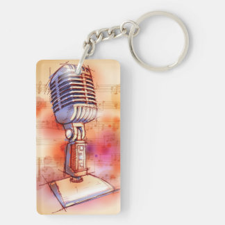 Classic Microphone, watercolor background Keychain