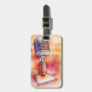 Classic Microphone, watercolor background Tag For Bags