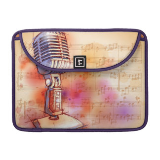 Classic Microphone, watercolor background MacBook Pro Sleeve