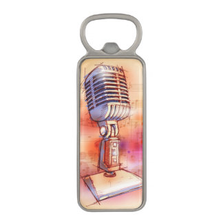 Classic Microphone, watercolor background Magnetic Bottle Opener