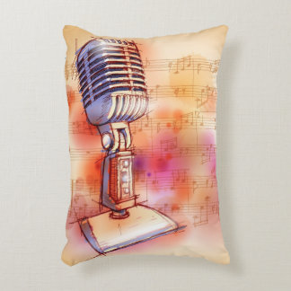 Classic Microphone, watercolor background Accent Pillow