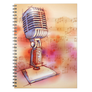 Classic Microphone, watercolor background Notebook