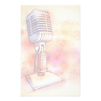 Classic Microphone, watercolor background Stationery