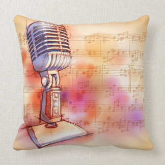 Classic Microphone, watercolor background Throw Pillow