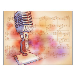 Classic Microphone, watercolor background Wood Wall Art