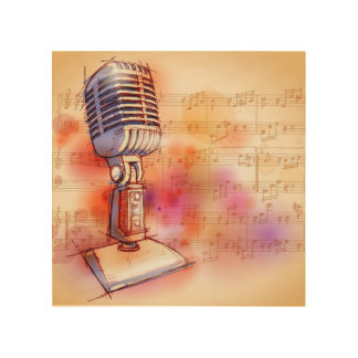 Classic Microphone, watercolor background Wood Wall Decor