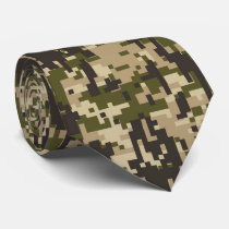 Classic Military Digital Camo Pattern Neck Tie